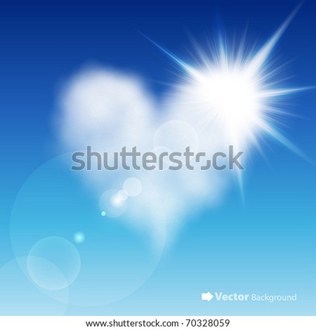 Heart shaped cloud in the blue sky with sun after it. Valentine`s day illustration - stock vector