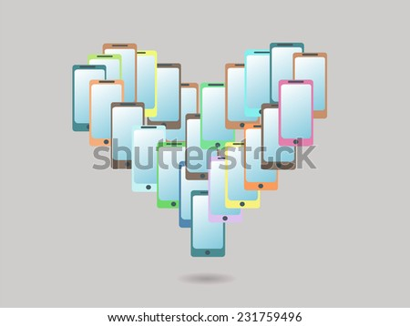 Heart Shaped Colorful Mobile Phones