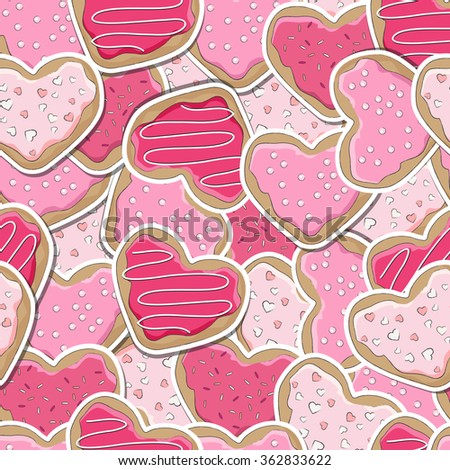 Heart shaped cookies, decorated for Valentine's Day, seamless background. EPS10 vector format - stock vector