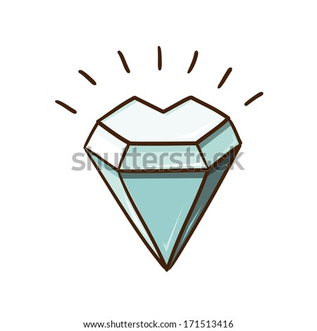 Heart shaped diamond stone isolated on white.Sketch vector design element for Valentine's day