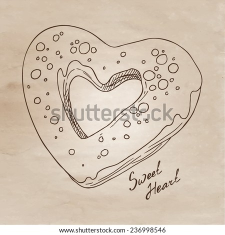Heart-shaped donut vector illustration in sketch style. Vintage illustration with a sweet heart. - stock vector