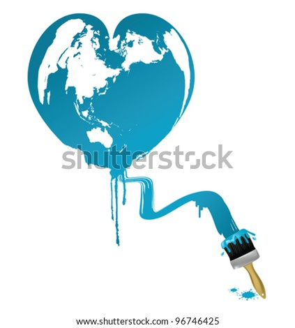 Heart shaped earth - stock vector