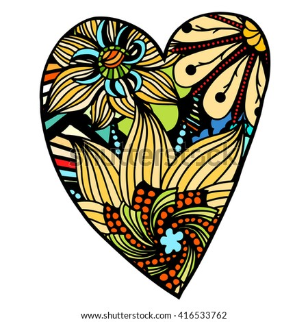 Heart shaped flowers zentangle pattern for coloring book. Colored