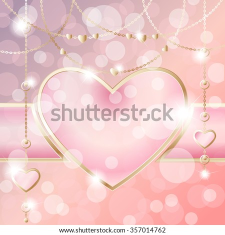 Heart-shaped frame on sparkly peach pink background (eps10); - stock vector