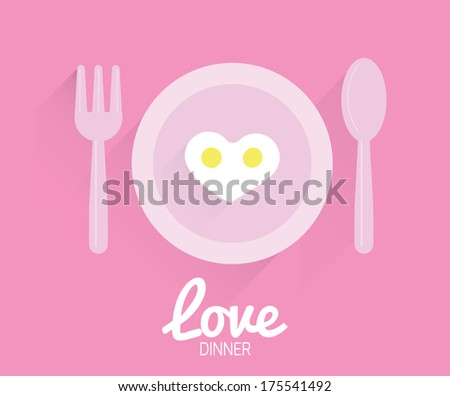Heart-shaped fried egg. Valentine's Day Cards. Flat icons. Vector - stock vector