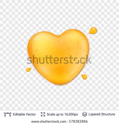 Heart shaped honey drop on transparent background. Realistic vector objects with shadows and highlights.