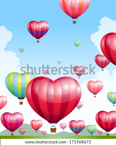 Heart shaped hot air balloons  - stock vector