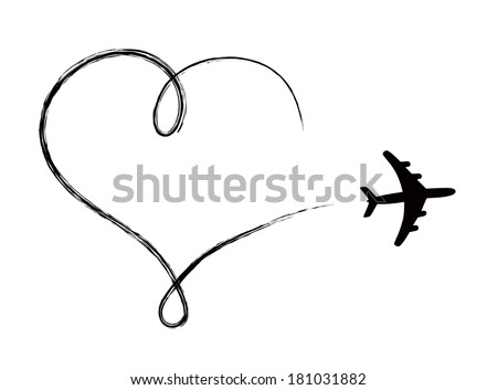 Heart shaped icon in air, made by plane - stock vector