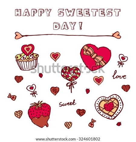 Heart shaped icons for Happy Sweetest Day. Chocolate box, Cupcake with cookies, chocolate covered strawberry, candies - stock vector