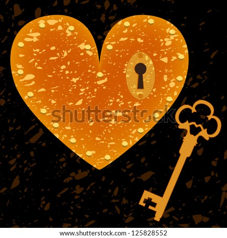 Heart-shaped lock and key grunge background, vector - stock vector