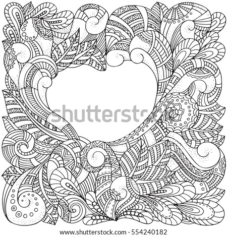 Heart Shaped Pattern Adult Coloring Book Stock Vector (2018 ...