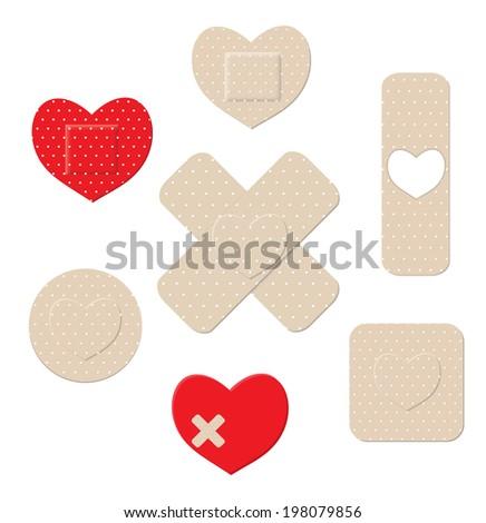 Heart shaped plastic bandages, vector illustration - stock vector