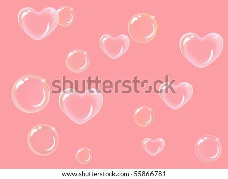 heart-shaped soap bubbles - stock vector