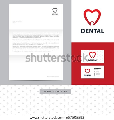 Identity design consisting logo business card stock vector 643825357 heart shaped tooth identity design consisting of logo business card letterhead and seamless colourmoves