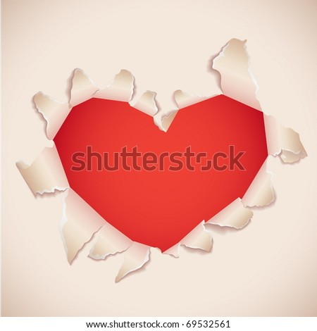 Heart shaped torn paper with red copy space . Valentine's card. - stock vector