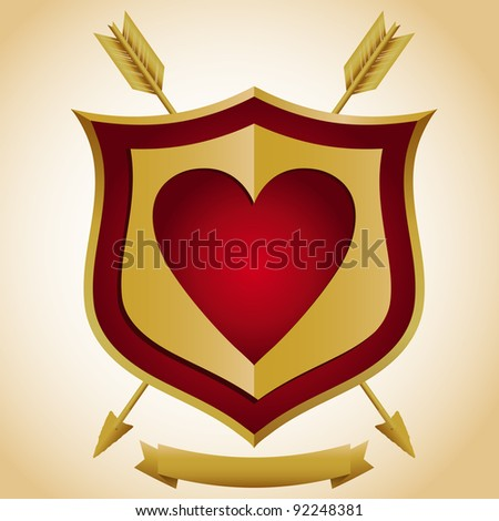 Heart Shield with Arrows - stock vector