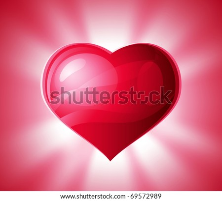 Heart shining with light of love. Vector, no transparency used. - stock vector