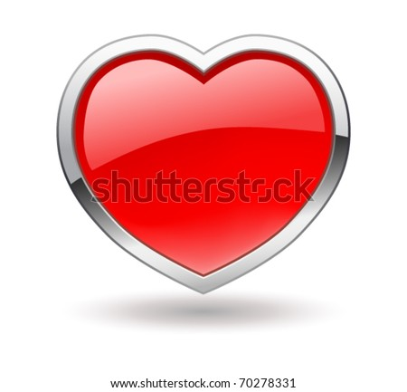 Heart. Shiny valentine icon with chrome rim. Vector. - stock vector