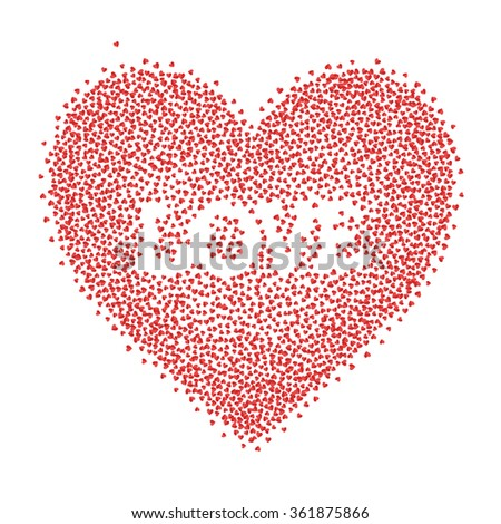 heart sign and love word made of tiny paper hearts - stock vector