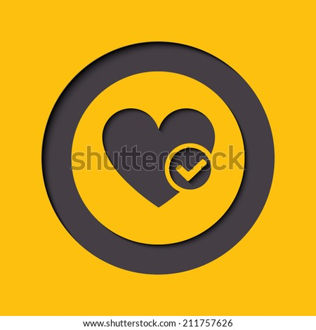 Heart sign web icon with check mark glyph. Vector illustration design element eps10 - stock vector