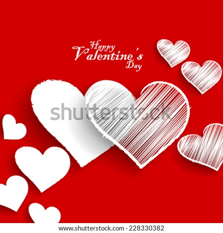 Heart Sketch for Valentine's Day Background - stock vector