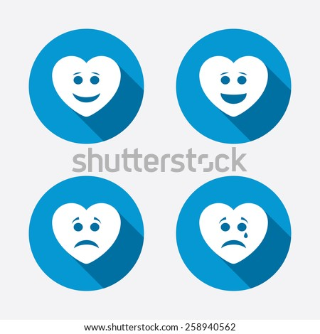 Heart smile face icons. Happy, sad, cry signs. Happy smiley chat symbol. Sadness depression and crying signs. Circle concept web buttons. Vector - stock vector