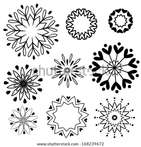 Heart Snowflake Set Silhouette - stock vector
