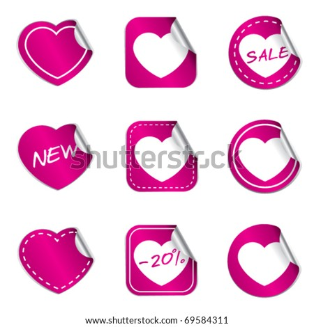 Heart stickers collection - pink version - stock vector