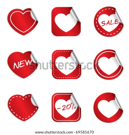 Heart stickers - red version - stock vector