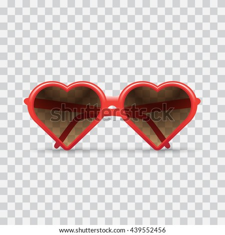 heart sunglasses, light checkered background. Heart sunglasses illustration. - stock vector