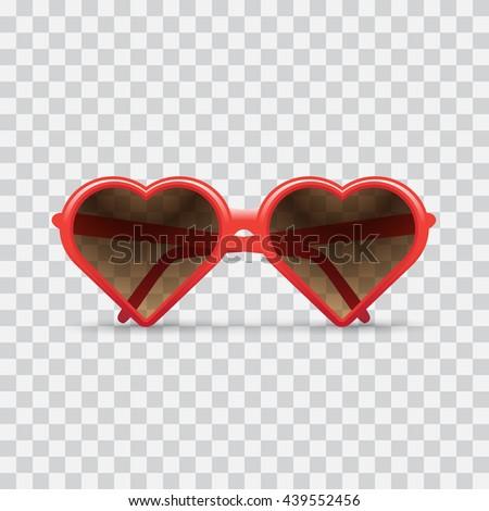 heart sunglasses, light checkered background. Heart sunglasses illustration. - stock vector - stock vector