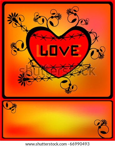 Heart surrounded with a barbed wire and the vintage flower pattern. A vector. - stock vector