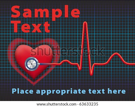 Heart symbol and stethoscope with normal electrocardiogram line, cardiac monitor, EPS8, CMYK - stock vector
