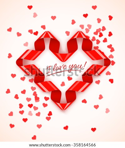 Heart symbol frame of red spiral ribbon with hearts confetti for Saint Valentines Day. vector illustration. Transparent objects used for lights and shadows drawing. - stock vector