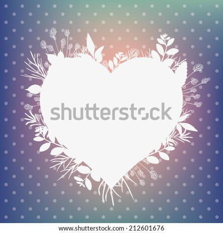Heart symbol in leaves. Vector. - stock vector