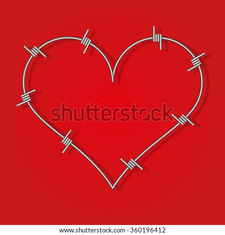 Heart symbol made from barbed wire. Red background - stock vector