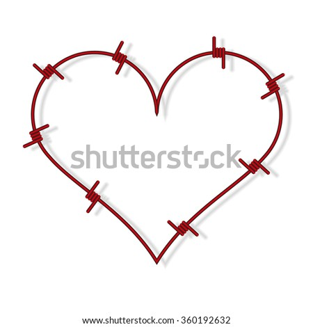 Heart symbol made from red barbed wire - stock vector