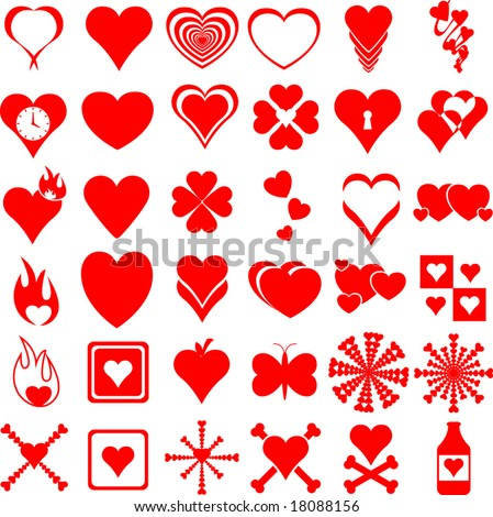 heart symbols collection - stock vector