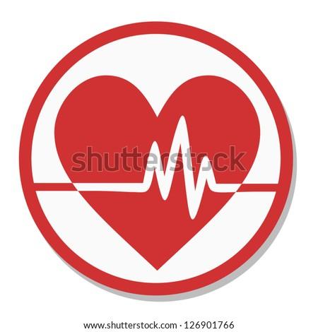 Heart tag pulse - stock vector