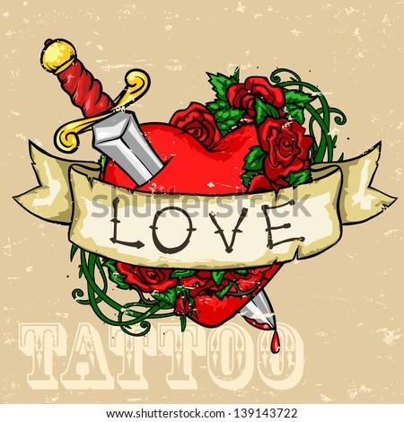 Heart Tattoo Design, Grunge effect is removable. - stock vector