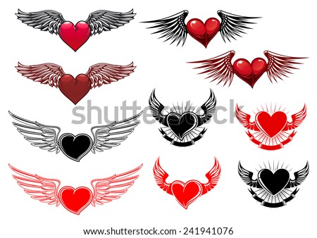 Heart tattoos with wings in retro style for heraldry or t-shirt design - stock vector