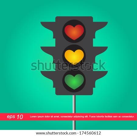 heart traffic light vector icon - stock vector