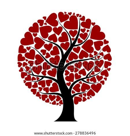 heart tree - stock vector