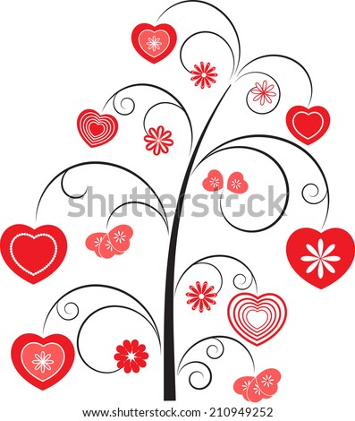 Heart Tree, Black Tree with Red Hearts on White Background, Tree vector Heart Vector