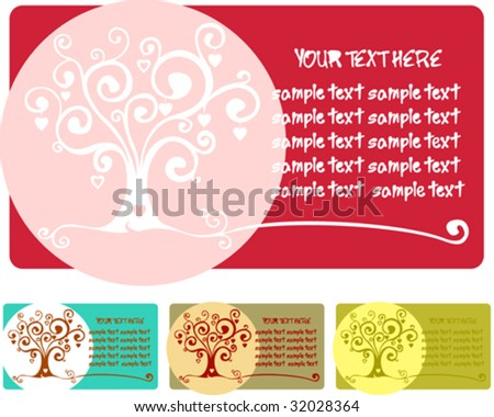 Heart tree card for invitation or greeting - stock vector
