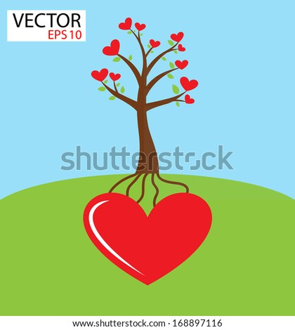 Heart tree growing from heart . Love concept