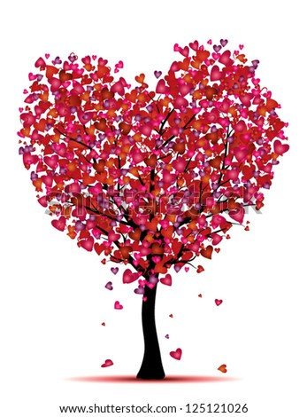 heart tree, love concept - stock vector