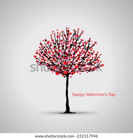 Heart Tree Valentine's Day Background - stock vector