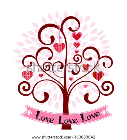 Heart tree with banner  - stock vector