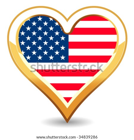 Heart USA Flag